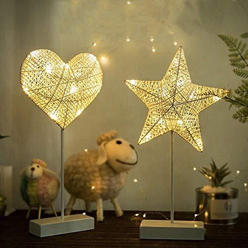 Luz de noche de ahorro de energía Lámpara de mesa con luz nocturna LED lámpara de estrella lámpara de luna-Love-Battery Lámpara de atmósfera y Luz de Noche para Luz de la noche