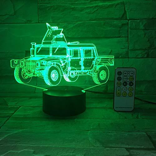 Camión militar Coche 3D Ilusión óptica Luz de mesa Lámpara de humor Toque Control remoto Luz de hogar Regalos pin