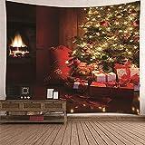 KnBoB Tapiz para Pared Arbol de Navidad y Regalos 350 x 256 CM Tejido Poliéster Impresión Digital Decoracion Salon Modernos