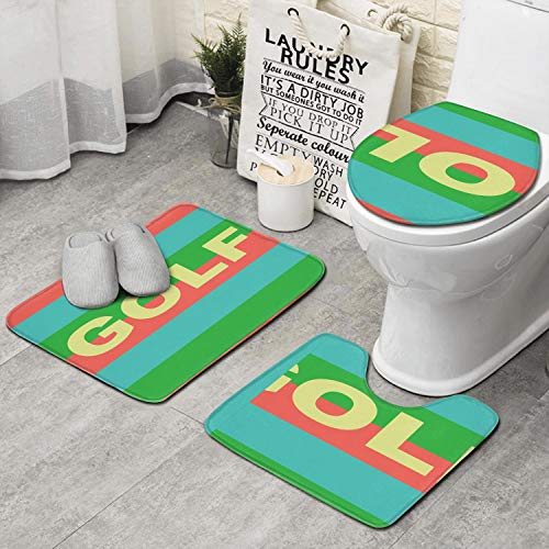 JECIA HOLDER Bath Mat, Color 3D Golf Wang Bathroom Carpet Rug Non-Slip 3 Piece Bathroom Mat Set