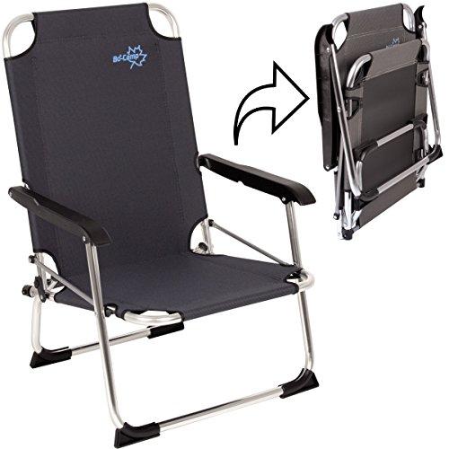 Hummelladen Camping Klapp-Stuhl Copa Rio Alu schwarz, bis 100kg, 600D-Gewebe