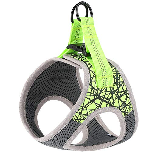 Timormode Dog Cat Harness Soft Mesh Breathable Vest Step-in Reflective Pet Puppy Harness for Walking No Pulling No Choking 01 Green Medium