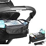 Minuma® Kinderwagen Organizer schwarz mit Abdeckhaube | aus 600D Polyester + PVC Beschichtung | 32 x 12,5 x 13 cm inklusive Handytasche für große Handys | wasserabweisend Regenschutz