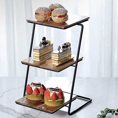 Leikance Porte-gâteaux 3 étages en acier inoxydable avec plateau de rangement pour fruits et gâteaux pour fête de mariage 23.5 * 23.5 * 15.5CM jaune