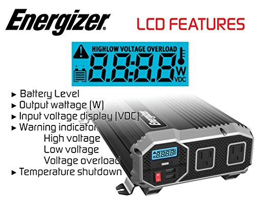 ENERGIZER 2000 Watt 12V Power Inverter, Dual 110V AC Outlets, Automotive Back Up Power Supply Car Inverter, Converts 120 Volt AC with 2 USB ports 2.4A Each