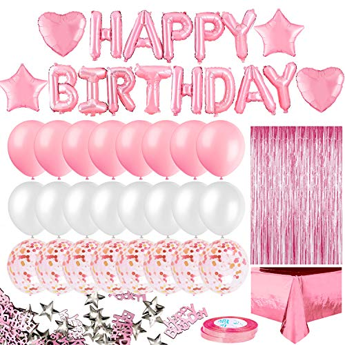 iZoeL Geburtstagsdeko Rosa für Mädchen Happy Birthday Girlande 24 Konfetti Ballons Tischdecke Glitzer Konfetti für Tochter 1 2 3 4 Jahre Geburtstag Party