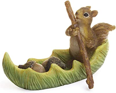 Marshall Home and Garden Acorn Squirrel Canoe Leaf Green 3 inch Resin Stone Collectible Figurine