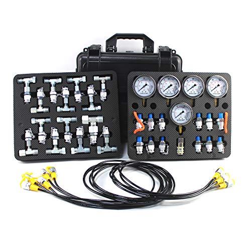 SINOCMP Hydraulic Pressure Test Kit with 5 Gauges 5 Test Hoses 13 Couplings and 14 Tee Connectors Pressure Gauge Kit Test Kit for CAT/CASE/John Deere Excavator Construction Machinery