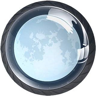 Shiny Moon - Juego de 4 pomos para armario de cocina tiradores redondos para cajones y aparadores