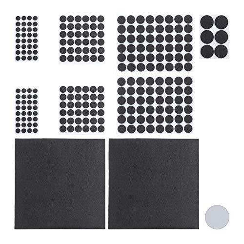 Relaxdays, schwarz Filzgleiter 240er Pack, 2 Filzplatten zum Zuschneiden, Klebefilz, runde Möbelgleiter, versch. Größen, Standard
