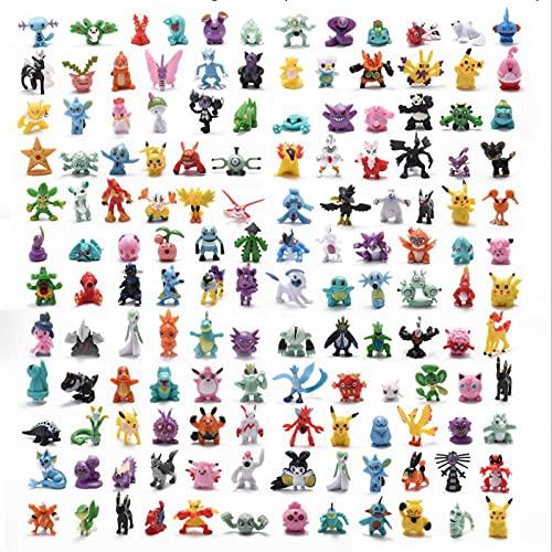 144 Pcs Pokemon Figurines Jouets, Collection De Modèles Pikachu 2-3cm Décoratif Anime Personnage Animal Poupée Jouet pour lAnniversaire des Enfants Cadeau de Noël, Monster Mini Figurines Jouets