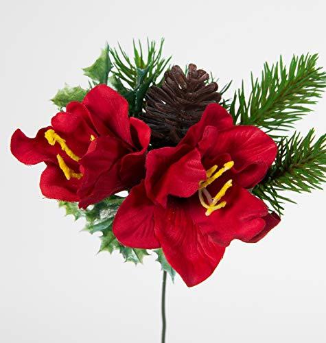12 Stück Amaryllis- Zapfen- Tannenpick 22cm rot PM künstliche Amaryllis Tanne Blumen Kunstblumen