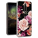 Nokia 6.1 Case, Nokia 6 2018 Case with Flowers, Booceicd Shockproof Clear Floral Pattern Soft Flexible TPU Back Slim Case Cover for Nokia 6.1 (2018) (Purple Flower)