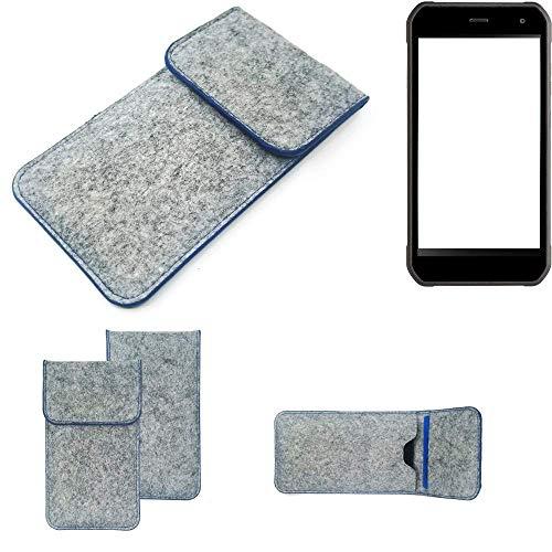 K-S-Trade Handy Schutz Hülle Für Cyrus CS 40 Schutzhülle Handyhülle Filztasche Pouch Tasche Hülle Sleeve Filzhülle Hellgrau, Blauer Rand