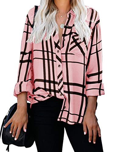 ZC&GF Women's Long Sleeve V-Neck Stripes Casual Blouses Pocket Button Down Shirt Tops (Small, Pink)