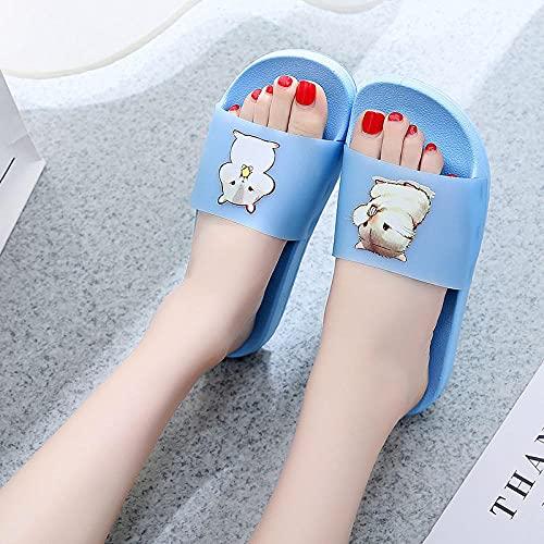JaMsnc Zapatillas de baño para mujer, sandalias antideslizantes de dibujos animados, zapatillas de baño para parejas-azul_36-37, sandalias suaves para el hogar