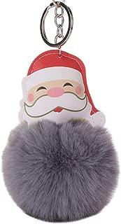 Sanwooden Cute Key Chain Christmas Santa Claus Fluffy Ball Keychain Car Key Ring Handbag Bag Decor Gift Girl Fashion Accessories