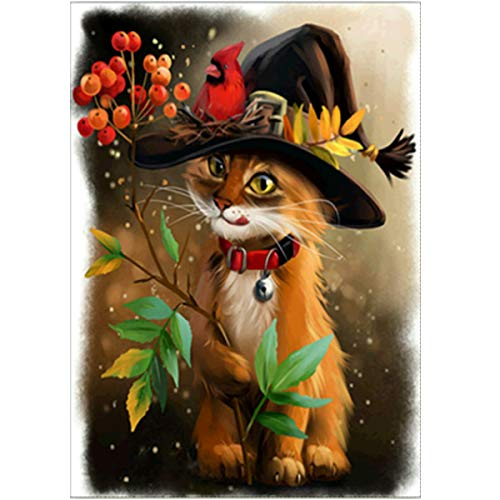 MXJSUA 5D Diamond Painting Full Round Drill Kits Pasted Arts Craft for Home Wall Decor Cat Wearing Hat 30x40cm