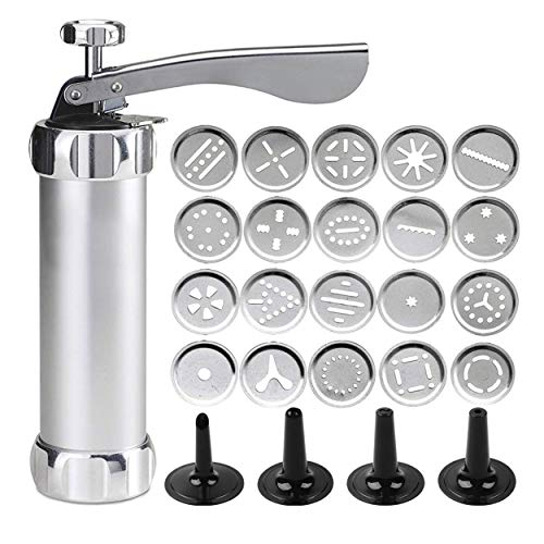 Der Rose Cookie Press Gun Kit for DIY Biscuit Maker and Decoration with 20 Stainless Steel Cookie discs and 4 nozzles, Silver