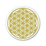 Raduly Barna Set de 4 Posavasos Juego Flor de la Vida Mandala Dorado, diámetro 95mm