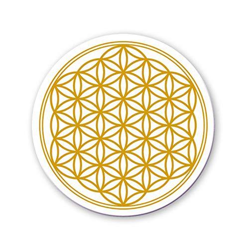 Untersetzer für Tassen Tisch Bar Glas 4er Set Blume des Lebens Mandala Gold, Durchmesser 95mm