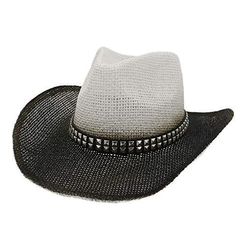 LI-MING-Y-MZ, Cappello da Cowboy da Donna in Paglia con Vernice Spray, Cappello da Spiaggia per Esterni, Rivetti Quadrati Decorativi, Cintura Panama Chapeu Feminino, Cannuccia, 1, 56-58 cm