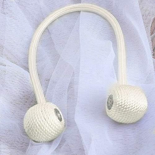 St@llion 1 par de alzapaños magnéticos para cortina de bolas, clips de hebilla, soporte para cortinas (blanco)