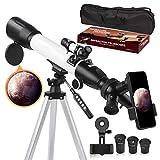 Telescopio, Telescopi Per Bambini Adulti Principianti Apertura da 60 mm Supporto AZ da 500 mm, Rifrattore per Astronomia con Treppiede Regolabile, Adattatore per Telefono