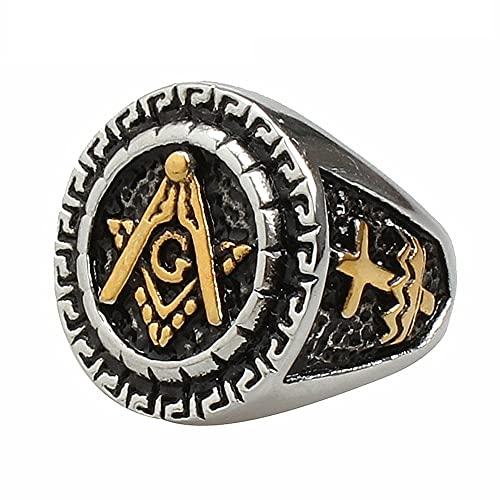 Retro Punk de alta calidad Metal Cruz anillo masónico hombres estilo religioso Rock Party Biker Jewelry 14 Silver