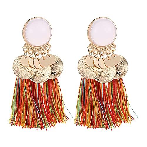 DOUHEN Pendientes de borla de perlas de imitación para mujer, estilo bohemio y borla, Aluminio,