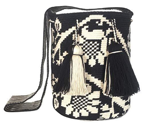 Wayuu Mochila-Tasche, Colombia, Häkeln, Makramee, Consuela-Taschen, große Garnquasten, Design unten (Special Edition), Schwarz (Ju'i), Large