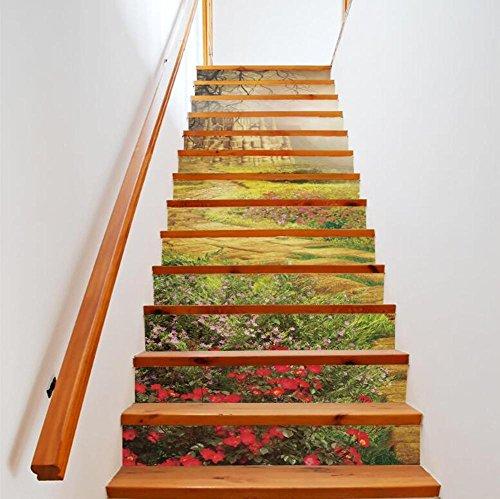 Sticker mural escalier bois auto-paysage 3D adhesiveRefurbished PVC respectueux de l'art mural Papier peint amovible Décorations Accueil ,facile à appliquer,1 jeu (13 pc)