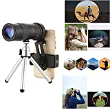 4k 10-300x40mm Super telephoto Zoom monocular Telescope for Racing ,Beach Birds Watching (with Tripod and Clip, 10-30040)