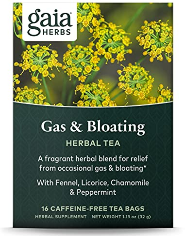 Gaia Herbs Gas and Bloating Herbal Tea, 16 Tea Bags - Support for Digestive Discomfort, Fast Acting, Caffeine Free