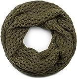 styleBREAKER Strick Loop Schal mit Loch Muster, Uni Lochstrick Schlauchschal, Winter Strickschal, Unisex 01018156, Farbe:Oliv