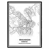 Stavanger Norwegen Karte Wandkunst Leinwand drucken Poster