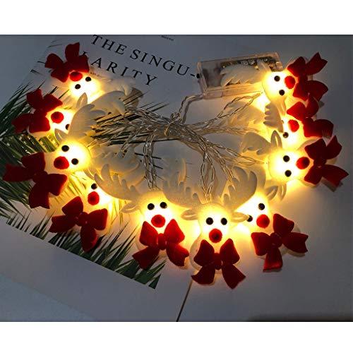 duquanxinquan LED Indoor Lichterketten Christmas Elk Rentier Lichterkette Weihnachtsdekoration Fassadendeko Lichterkette Schneemann Weihnachtsrentier für Party Xmas Innen/Außen Haus Deko String Lights