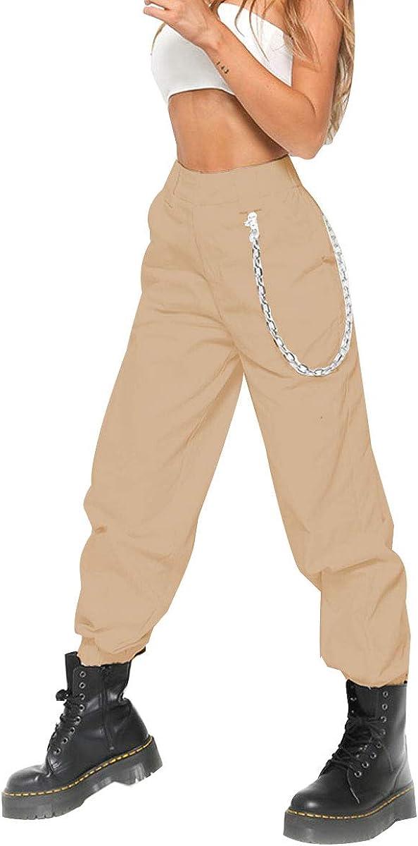 Womens Casual Baggy Hip Hop Dance Stylish High Waist Lightweight Chain Jogger Cargo Pants