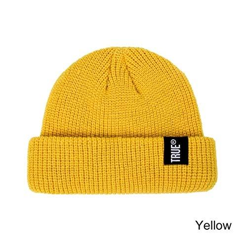 Cappello lavorato a maglia da uomo berretto berretto tinta unita polsino a coste retrò berretto corto melone berretto Skullies cappello invernale casual Skullcap-a93
