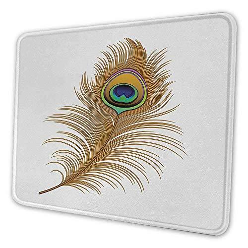 Peacock Gaming Mouse Pad Exotische verführerische Vogelfeder Magische wilde Natur dekorative Bild drucken Mouse Pad für Schreibtisch Computer Senf Green Navy