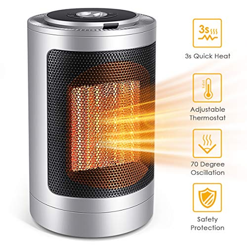FFDDY Space Heater, Indoor 750W/1500W Ceramic Electric Heater for Home/Office/Bedroom and Bathroom, Personal Desk Heater Ceramic Heater Space