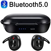 Bluetooth Headset Bluetooth 5.0 TWS HiFi Stereo in-Ear Sports Headphone with Microphone HD and Portable Charging Case for All Smart Electronics with Bluetooth Devices(Black)