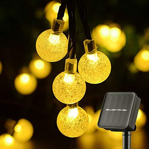 Solare Gartenbeleuchtung, wasserdicht, solarbetrieben und wiederaufladbar Festival Dekorative String Lichter mit 30 LED 20Ft Kristallkugeln für drinnen und draußen (Weiß)