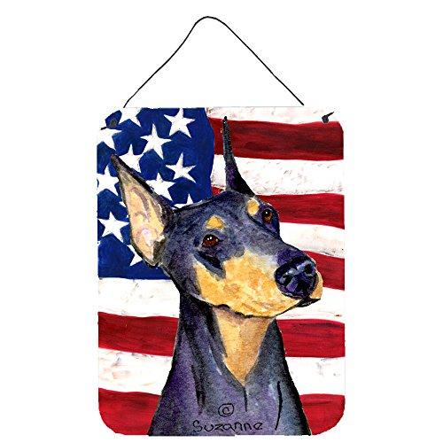 Caroline 's Treasures ss4022ds1216USA Amerikanische Flagge mit Rottweiler, Aluminium Metall Wand oder Tür Aufhängen Prints, 40,6x 30,5cm Multicolor
