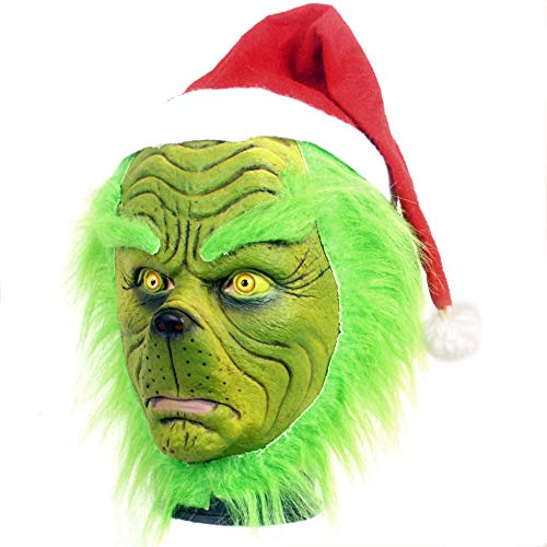 Allopo Grinch Mask Costume Furry Green Santa Mask with Red Hat for Men Women, Universal Size (Green), Medium