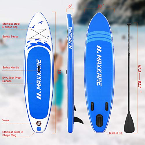 """Product Image 2: MaxKare Stand Up Paddle Board Inflatable SUP W Stand-up Paddle Board Accessories Backpack Paddle Leash Pump Non-Slip Deck ISUP Fishing Yoga Rigid Solid 10'× 30"""" ×6"""" Inches Thick Adult & Youth & Kid"""