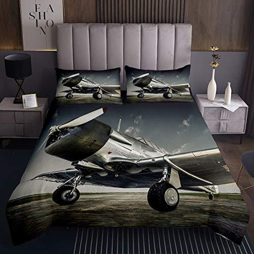 Colcha de avión 3D con estampado de aviones para niños, niñas, aviones voladores, juego de colcha de avión, decoración vintage acolchada con 2 fundas de almohada, 3 piezas para cama doble