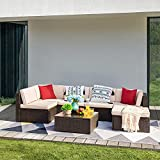 Devoko 7 Pieces Patio Furniture Sets All-Weather Outdoor Sectional Sofa Manual Weaving Wicker Rattan Patio Conversation Set with Cushion and Glass Table (Beige)