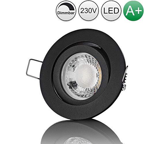 lambado® Premium LED Spot Dimmbar Schwarz - Hell & Sparsam inkl. 230V 5W GU10 Strahler warmweiß - Moderne Beleuchtung durch zeitlose Einbaustrahler/Deckenstrahler