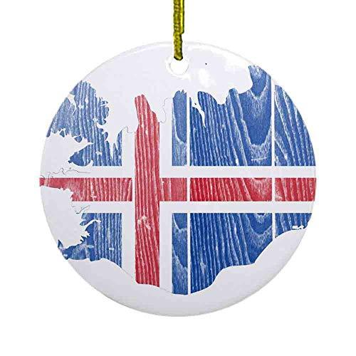 8 NBNWDHI Ceramic Ornaments - Iceland Flag and Map Ornament (Round) Round Holiday Christmas Ornament| Cute Santa Gift| Xmas Tree Decoration 2.8in